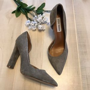 Steve Madden Gray Leather Suede Heels Chanda 7M